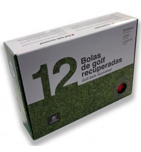 Caja de 12 bolas de golf recuperadas