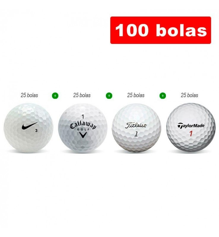 100 bolas de golf en Grado B - Nike, Callaway, Titleist y Srixon