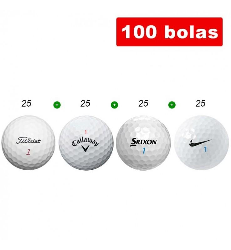 100 bolas de golf en Grado A - Titleist, Callaway, Srixon y Nike