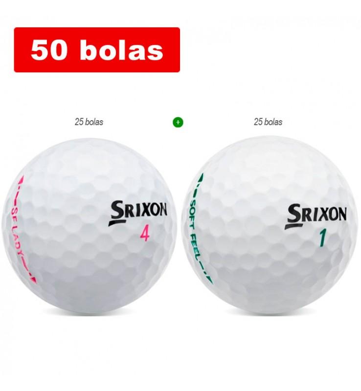 Srixon Lady + Srixon Soft Feel (50 bolas de golf)