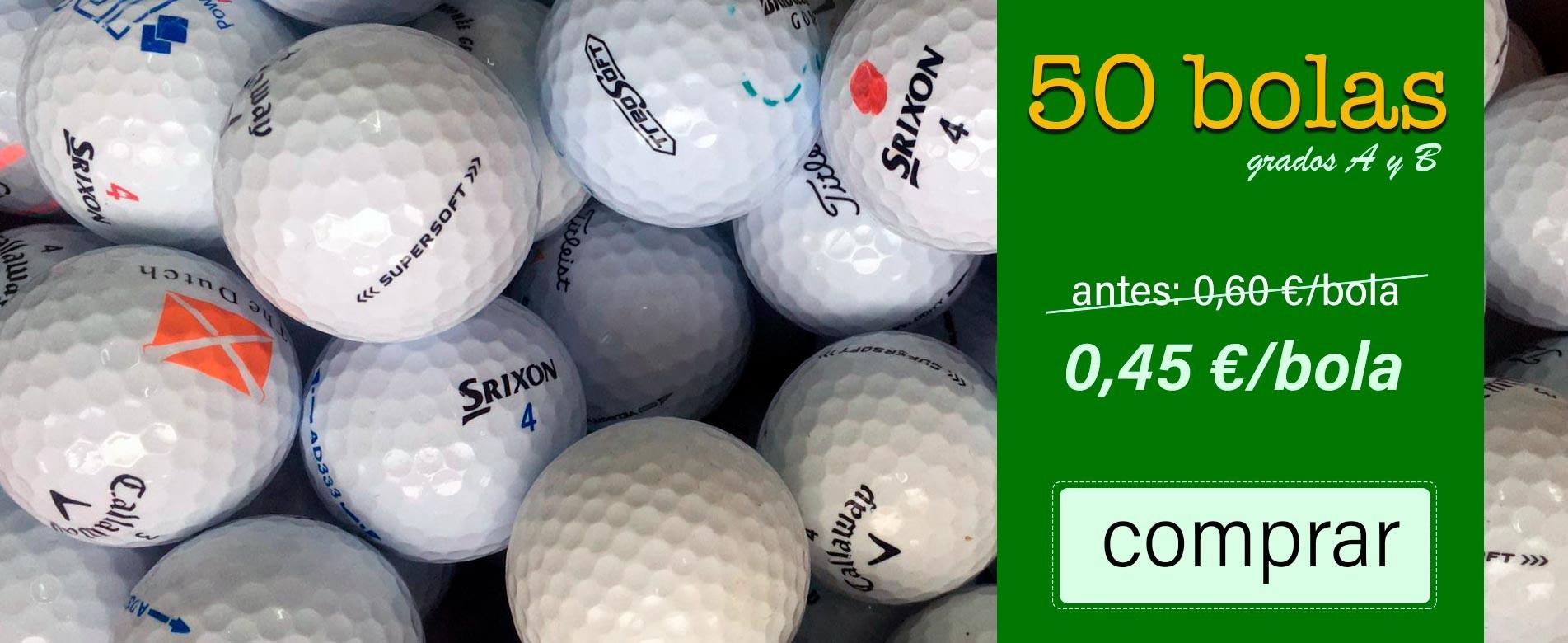 Promoción de 50 pelotas de golf de primeras marcas como Callaway, Taylor Made, Srixon, Titleist, etc.