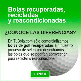 Bolas de golf recuperadas, recicladas y reacondicionadas